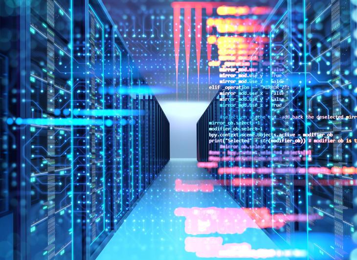 Serverrom med datahub illustrasjon
