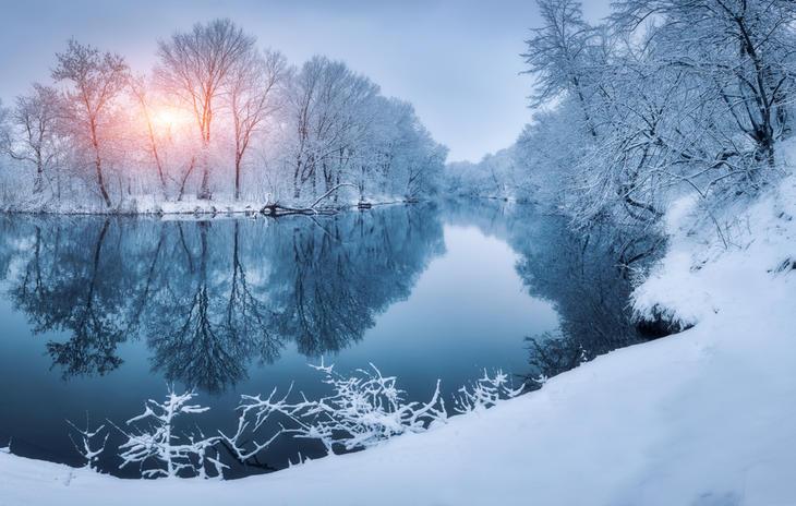 Vinterdekt skog med elv i solnedgang