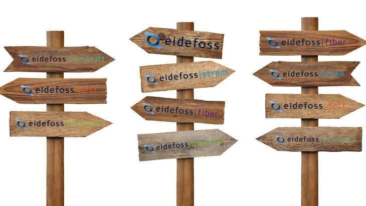 Eidefoss og datterselskapene på hver sine treskilt som peker i forskjellige retninger